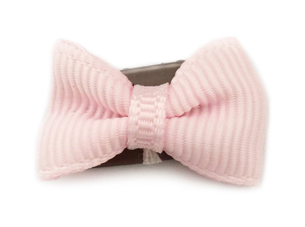 Mini Latch Tuxedo Grosgrain Bow - Icy Pink - Baby Wisp
