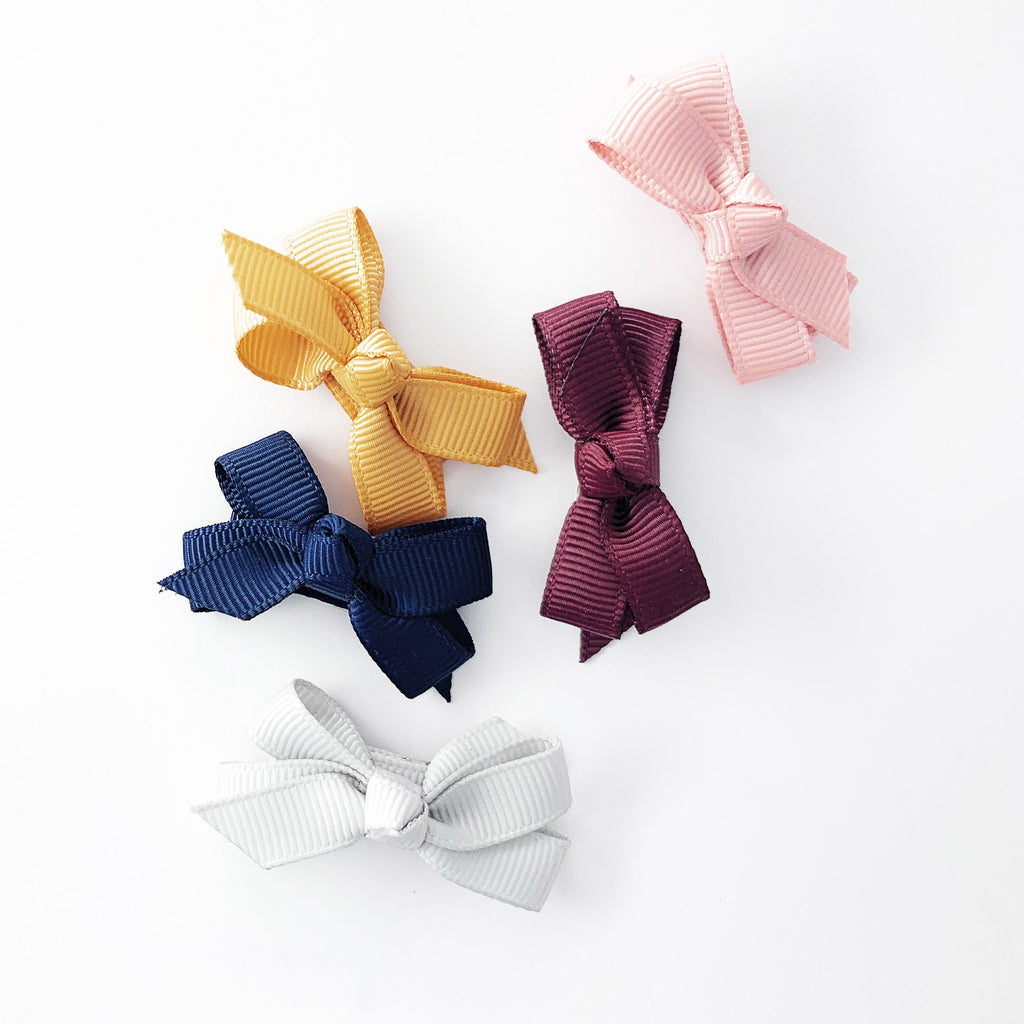 5 Small Snap Clips Chelsea Boutique Bow Collection - Nirvana - Baby Wisp