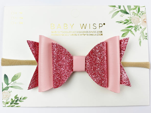 Big Glitter Bow Fairy Wings Hair Bow - Headband - Baby Wisp