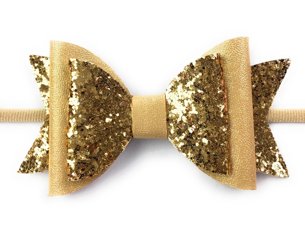 Infant Headband - Big Sparkly Glitter Hair Bow - Baby Wisp