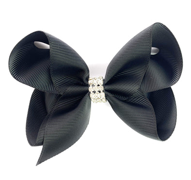 Americana Bow Pinch Clip - Diamond Rhinestone Bling - Black - Baby Wisp