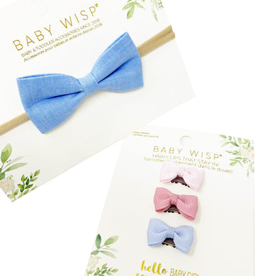 Blue Bow Headband and 3 Tiny Wisp Clip Baby Bow Gift Set - Baby Wisp