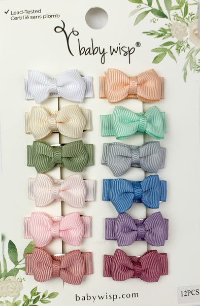 12 Pc Small Snap Tuxedo Grosgrain Hair Bows - Spring Classic Bows - Baby Wisp