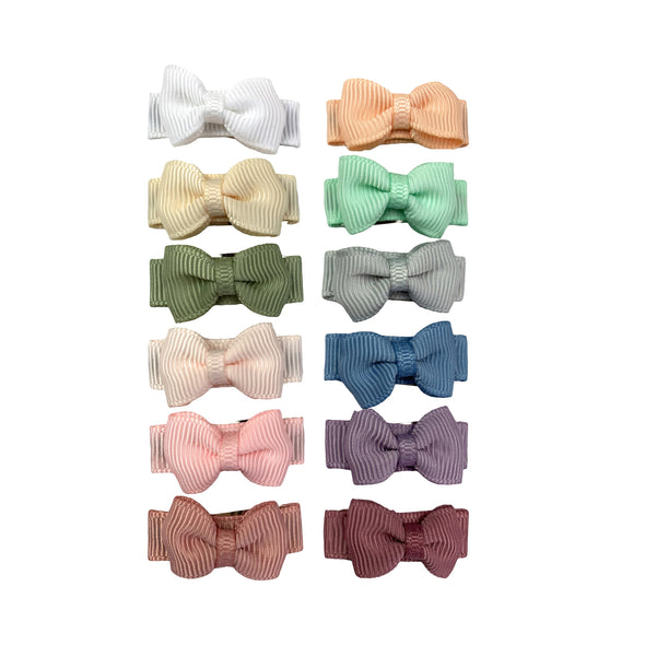 Ultimate Baby Bow Gift Set - 12 Pc Small Snap Tuxedo Grosgrain Hair Bows - Baby Wisp