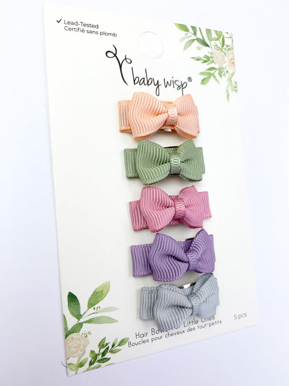 Small Snap Tuxedo Grosgrain Hair Bow Collection - Watercolors - Baby Wisp