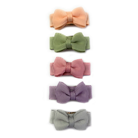 Small Snap Tuxedo Grosgrain Hair Bow Collection - Watercolors