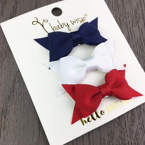 3 Small Snap Clip Bows - Stars & Stripes - Baby Wisp