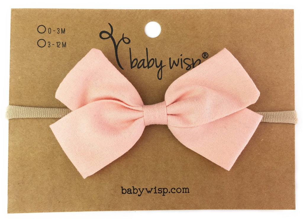 Emma Bow Infant Headband - Peach - Baby Wisp