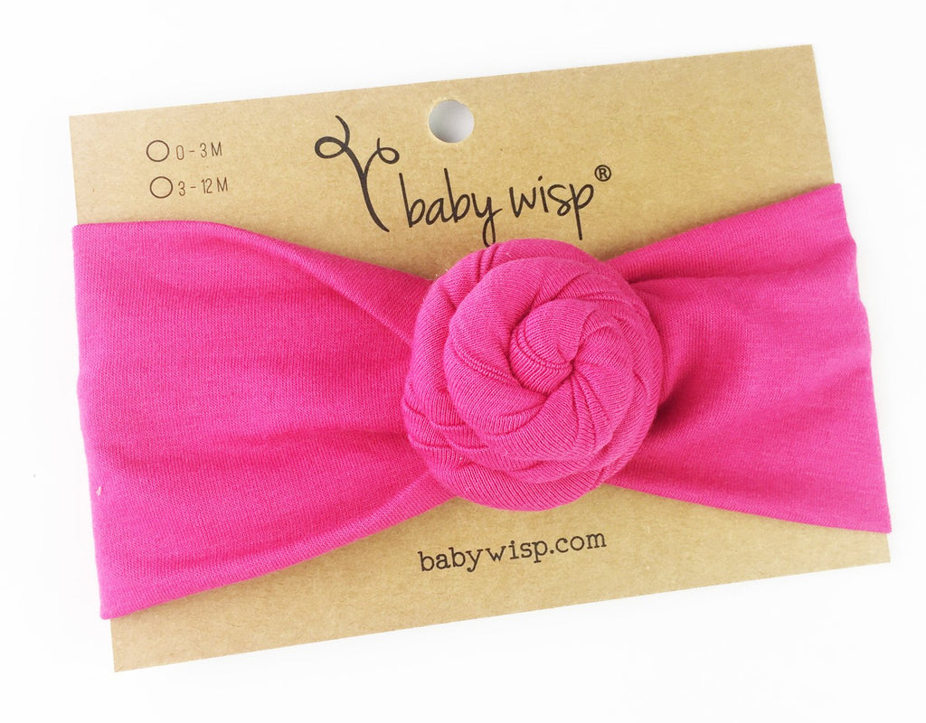 Infant Turban Bun Headband - Fuchsia - Baby Wisp