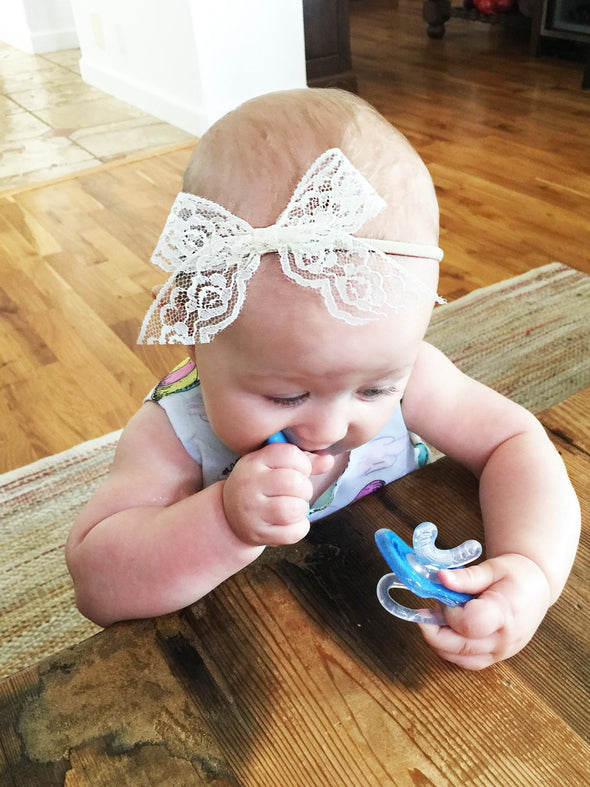 Infant Headband - Hand Tied Dainty Lace Bow - Handmade in San Diego - Baby Wisp