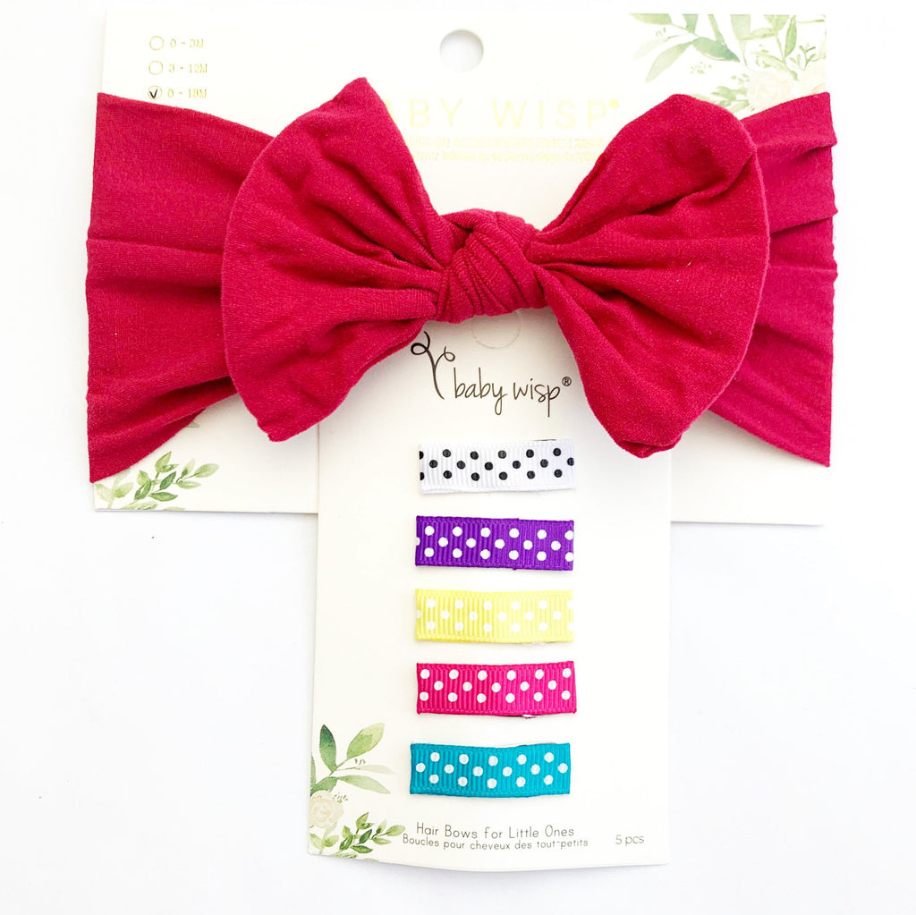 Infant Knotted Bow Headwrap and Simple Ribbon Snap Clips - Baby Wisp