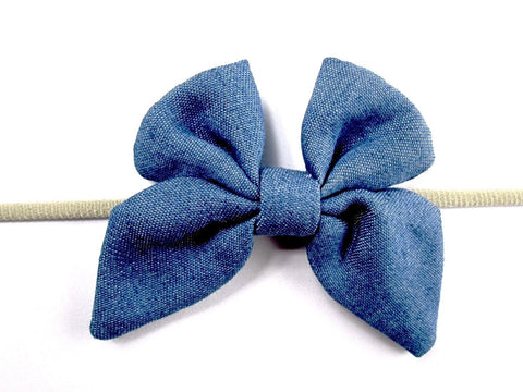Infant Headband - Butterfly Denim Bow - Baby Wisp