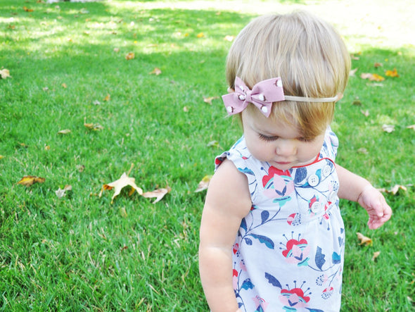 Infant headbands - 2 Acorn Print Fabric Bows - Baby Wisp