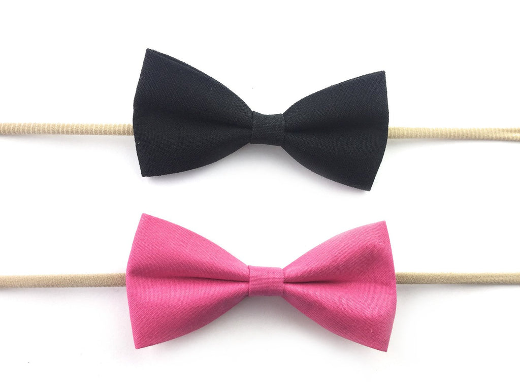... 2 Baby Headband Skinny Nylon Elastic Fabric Tuxedo Bows - Dark Pink and  Black - Baby ... 77ae6ec54ce