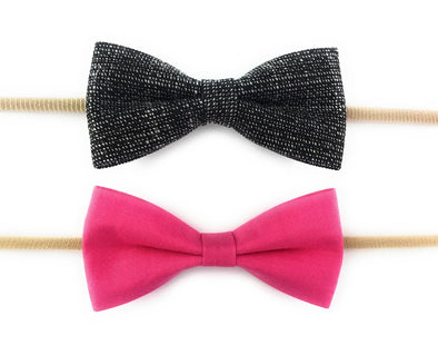 2 Baby Headband Skinny Nylon Elastic Fabric Tuxedo Bows - Dark Pink and Black - Baby Wisp