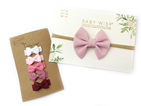 Infant Fanny Bow Headband and 5 Tuxedo Bows Set - Powder Pink