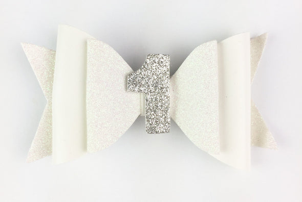 Baby's First Birthday - Sparkly Glitter Bow Pinch HAIR CLIP - Baby Wisp
