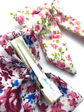 Vintage Floral Long Tail Fabric Bow Pinch Clip - Baby Wisp