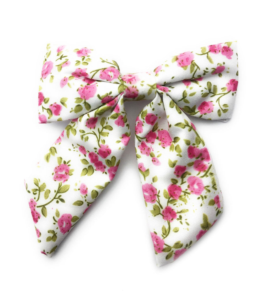 Vintage Floral Long Tail Fabric Bow Pinch Clip - Rosy Pink - Baby Wisp