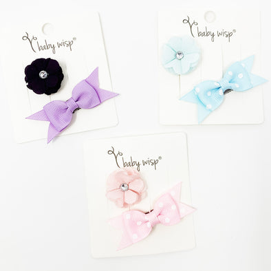 2 Mini Latch Wisp Clip Summer Baby Gift - Ribbon Bow and Flower Clip - Baby Wisp