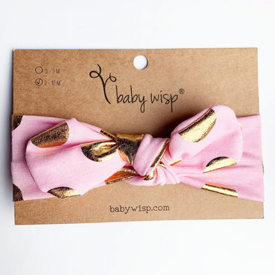 Top Knot Cotton Infant Headband with Gold Dots - Baby Wisp