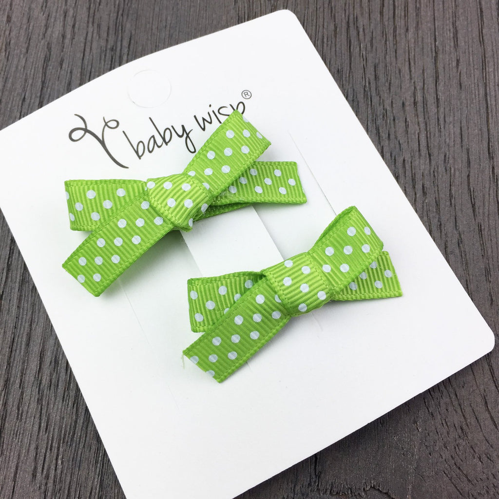 Hand tied hair bows - apple green dots - Baby Wisp
