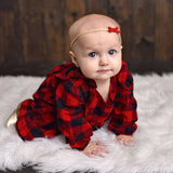 2 Canada Day Baby Headbands - Red and White Faux Suede Hand Tied Bows - Baby Wisp