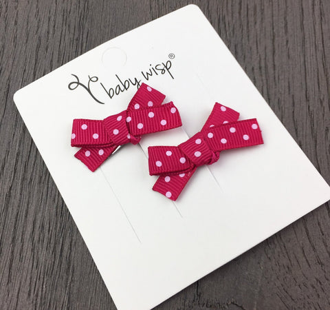 Hand Tied Bows - Berry Red Polka Dot - Baby Wisp