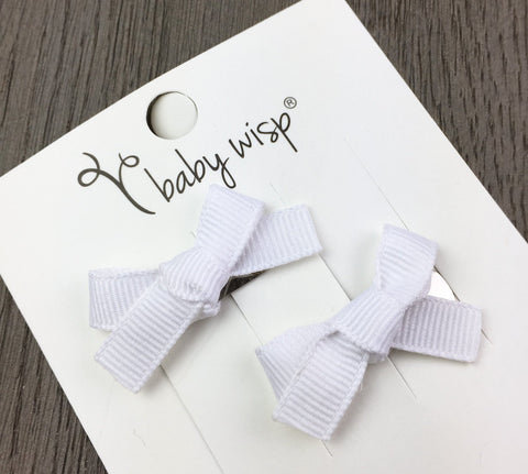 Hand Tied Bows - White - Baby Wisp