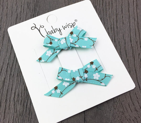 Hand Tied Bow Ribbon Clips - Aqua Cherry Blossom - Baby Wisp