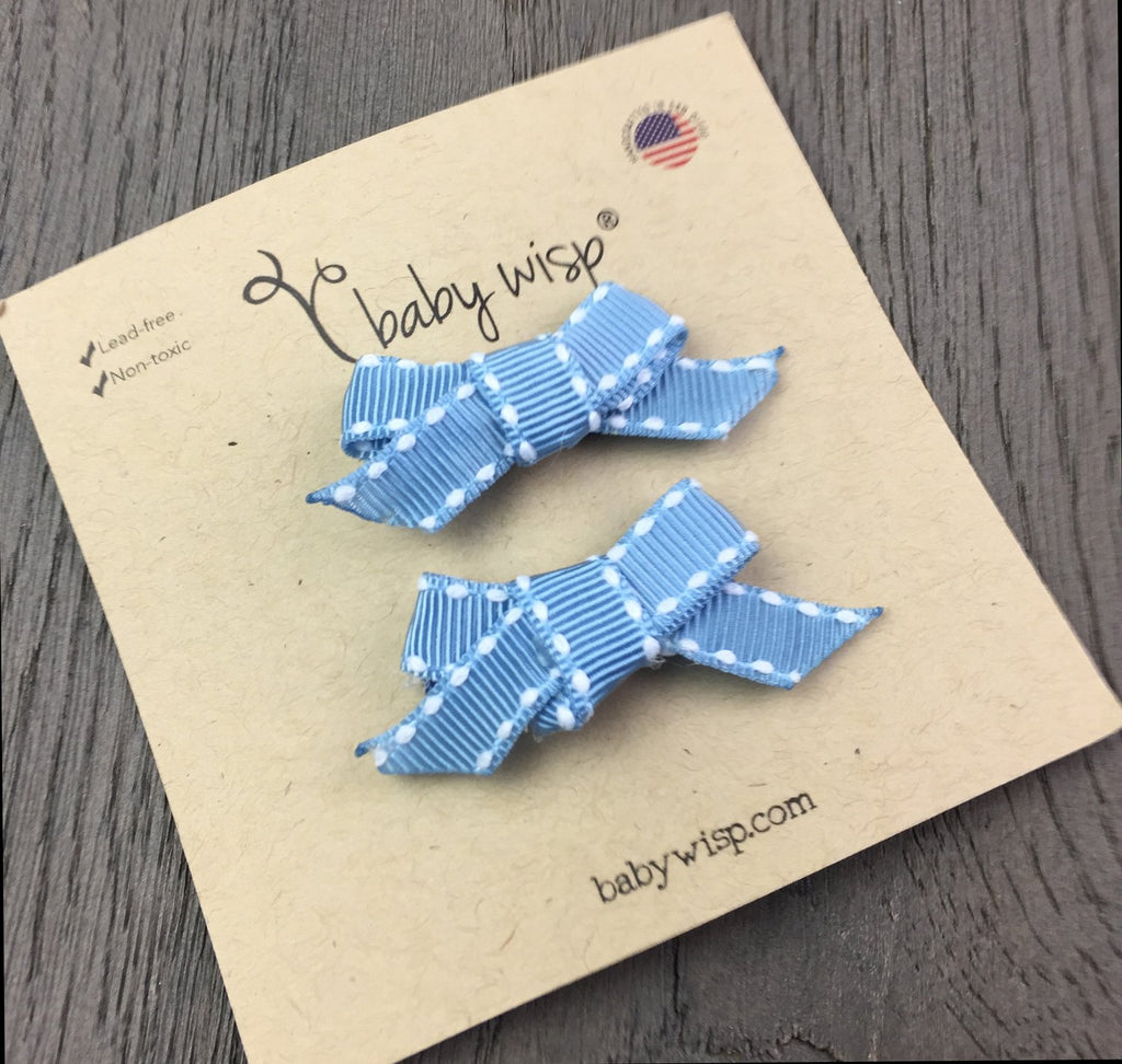 Hand Tied Bows - Blue Ribbon Stitched - Baby Wisp