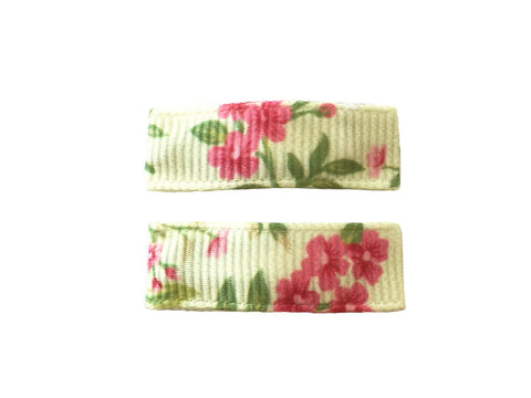 Handmade - Small Snap Urban Clip - Pale Green Floral - Baby Wisp