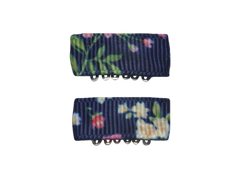 Handmade - Mini Latch Urban Clip - Floral Navy - Baby Wisp
