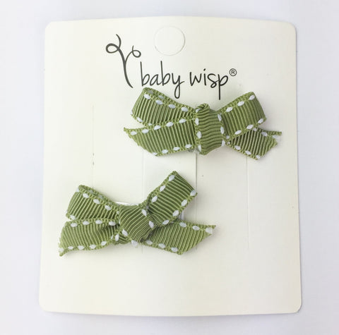 Hand Tied Bow Snap Clips - Olive Ribbon Stitched - Baby Wisp
