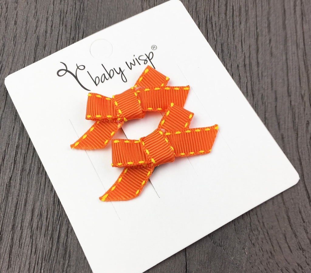 Hand Tied Bow Snap Clips - Orange Ribbon Stitched - Baby Wisp