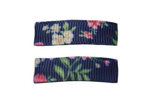 Handmade - Small Snap Urban Clip - Navy Floral - Baby Wisp