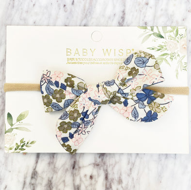 Baby Headband Hand Tied Victoria Bow - Blue Floral - Baby Wisp