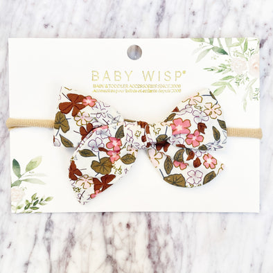 Baby Headband Hand Tied Victoria Bow - Coral Floral - Baby Wisp
