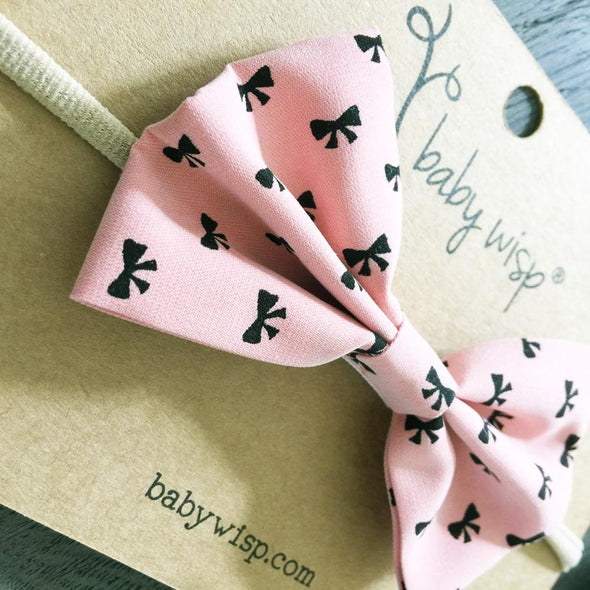 Infant Bow Headband - Bow Print - Coral Pink - Baby Wisp