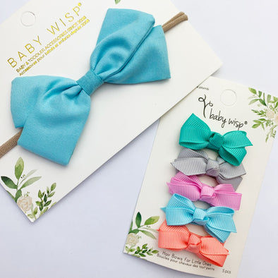 Emma Bow Infant Headband, 5 Boutique Bow Snap Clips Gift Set - Baby Wisp