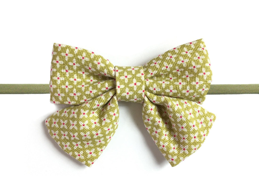 Retro Oversized Olive Green Sailor Bow Headband - Baby Wisp