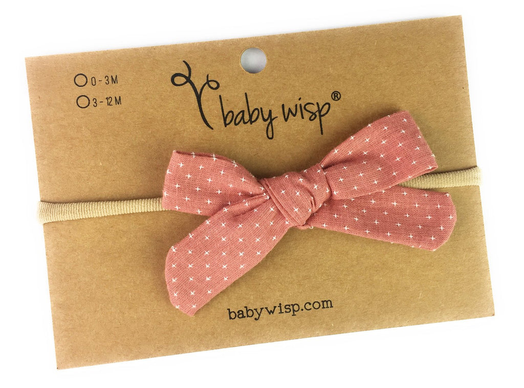 Infant Hand Tied Fabric Bow Headband - Starlite - Dusty Rose - Baby Wisp