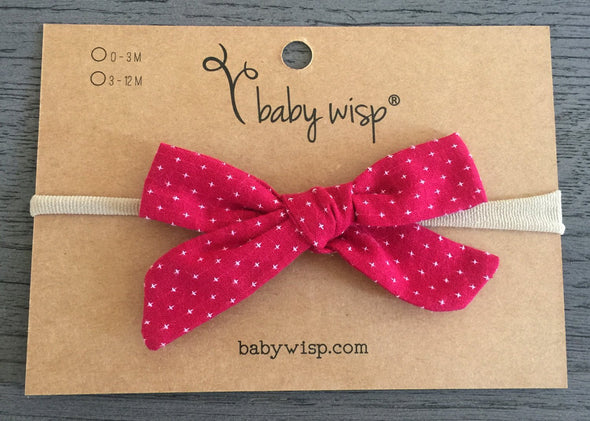 Infant Hand Tied Fabric Bow Headband - Starlite - Baby Wisp