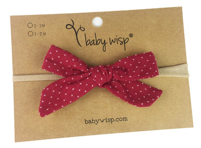 Infant Hand Tied Fabric Bow Headband - Starlite - Berry Red - Baby Wisp