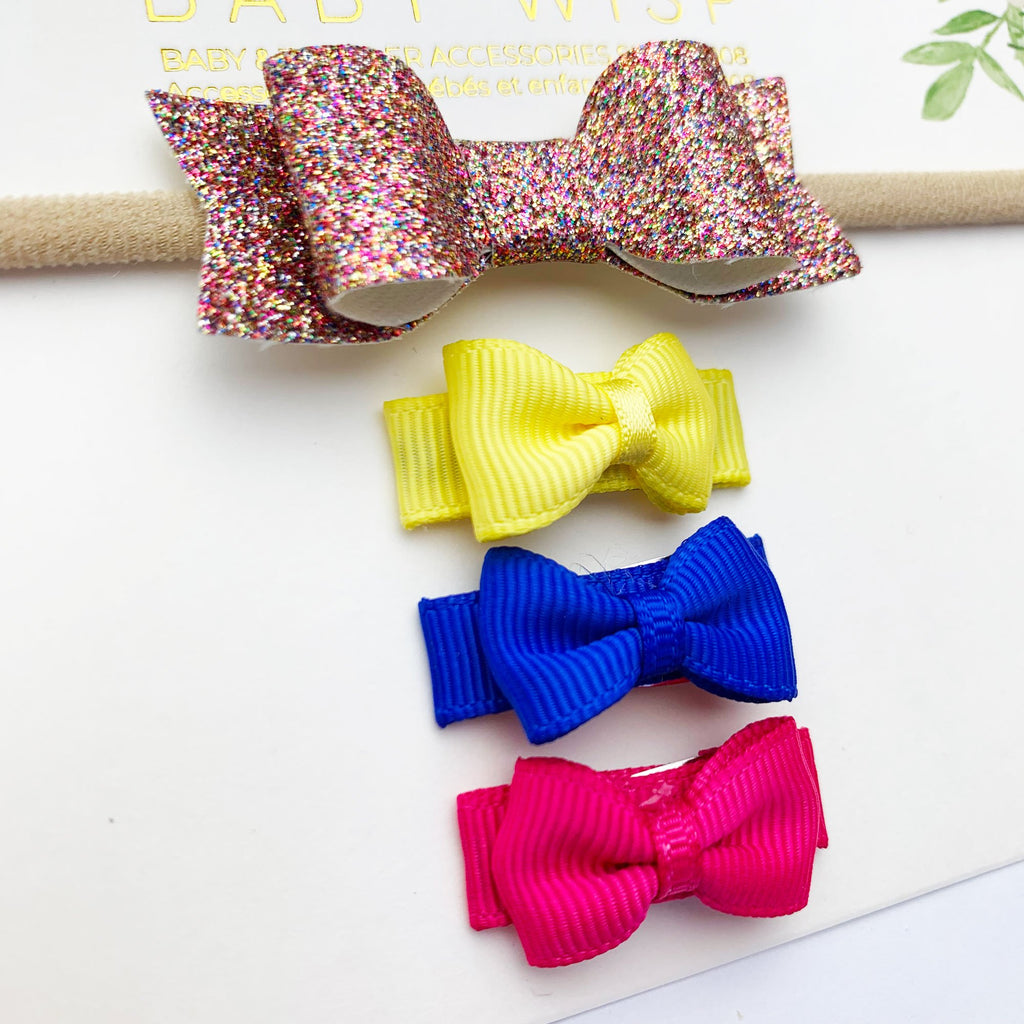 sparkly baby headband and bright summer bows