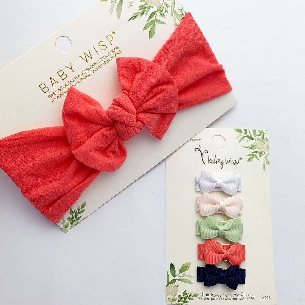 Infant Bow Headwrap and 5 Tuxedo Snap Clip Bows - Baby Wisp