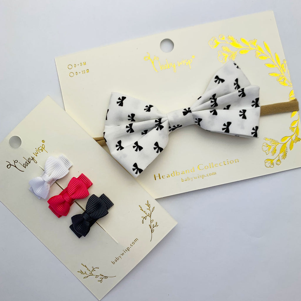 White Bow Pattern Baby Headband and 3 Cute Bows Gift Set