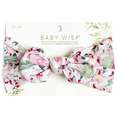 Infant Headwrap Nylon Bow Floral Headband - Begonia - Baby Wisp