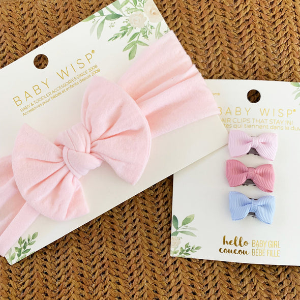Pink Infant Bow Headwrap and 3 Wisp Clip Bows - Baby Wisp