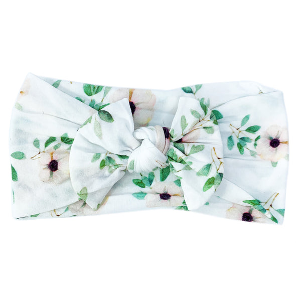 Infant Headwrap Nylon Bow Headband - Slow Floral Style - Baby Wisp